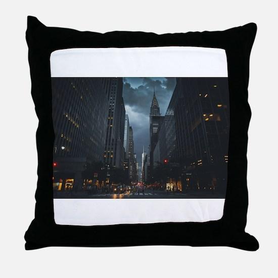 New York Chrysler building night Throw Pillow