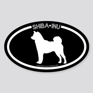 """Shiba Inu"" Black Oval Sticker"
