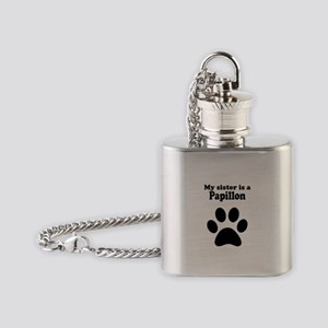 My Sister Is A Papillon Flask Necklace
