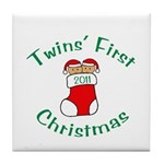 Twins First Stocking Tile Coaster