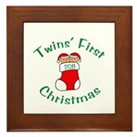 Twins First Stocking Framed Tile