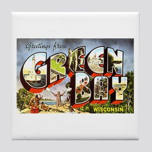 Green Bay Wisconsin Greetings Tile Coaster