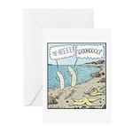 Bananas Skinny-dipping Greeting Cards (Pk of 10)