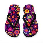 Hippie Purple Rainbow Flowers Flip Flops