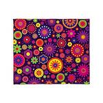 Hippie Purple Rainbow Flowers Throw Blanket