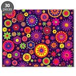 Hippie Purple Rainbow Flowers Puzzle