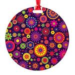 Hippie Purple Rainbow Flowers Ornament
