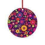 Hippie Purple Rainbow Flowers Ornament (Round)