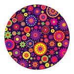 Hippie Purple Rainbow Flowers Round Car Magnet