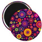 Hippie Purple Rainbow Flowers Magnet