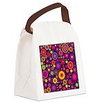 Hippie Purple Rainbow Flowers Canvas Lunch Bag