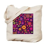 Hippie Purple Rainbow Flowers Tote Bag