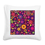 Hippie Purple Rainbow Flowers Square Canvas Pillow