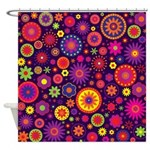 Hippie Purple Rainbow Flowers Shower Curtain