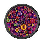Hippie Purple Rainbow Flowers Large Wall Clock