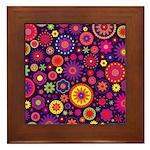 Hippie Purple Rainbow Flowers Framed Tile