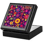 Hippie Purple Rainbow Flowers Keepsake Box