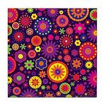 Hippie Purple Rainbow Flowers Tile Coaster