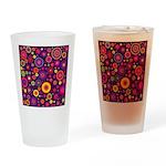 Hippie Purple Rainbow Flowers Drinking Glass