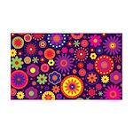 Hippie Purple Rainbow Flowers Wall Decal