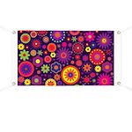 Hippie Purple Rainbow Flowers Banner