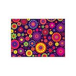Hippie Purple Rainbow Flowers 5'x7'Area Rug