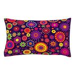 Hippie Purple Rainbow Flowers Pillow Case