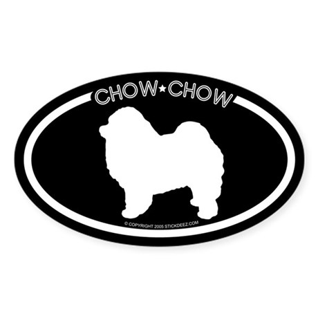 """Chow Chow"" Black Oval Sticker"