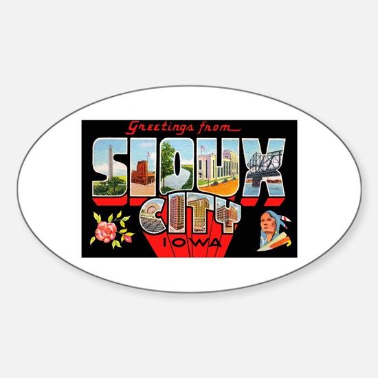Sioux City Iowa Greetings Oval Decal