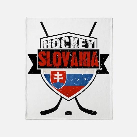 Hokej Slovensko Hockey Shield Throw Blanket
