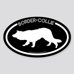 """Border Collie"" Black Oval Sticker"