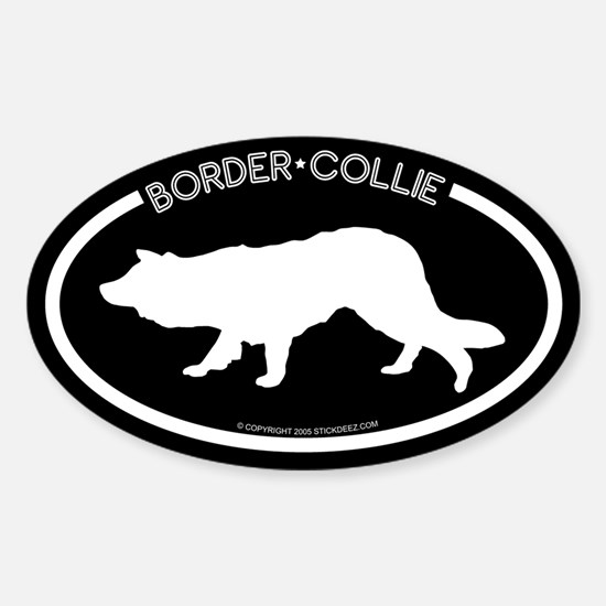 """""""Border Collie"""" Black Oval Decal"""