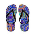 Blue Orange Retro Pattern Flip Flops