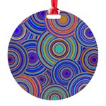 Blue Orange Retro Pattern Ornament
