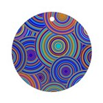 Blue Orange Retro Pattern Ornament (Round)