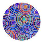 Blue Orange Retro Pattern Round Car Magnet