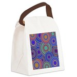 Blue Orange Retro Pattern Canvas Lunch Bag