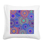 Blue Orange Retro Pattern Square Canvas Pillow