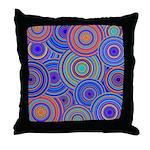 Blue Orange Retro Pattern Throw Pillow
