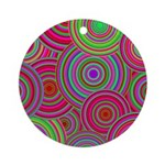 Pink Green Retro Pattern Ornament (Round)