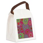 Pink Green Retro Pattern Canvas Lunch Bag