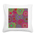 Pink Green Retro Pattern Square Canvas Pillow