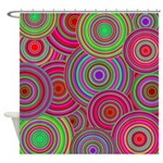 Pink Green Retro Pattern Shower Curtain