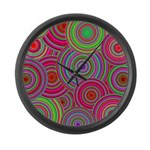 Pink Green Retro Pattern Large Wall Clock