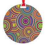Rainbow Retro Circles Pattern Ornament