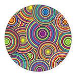 Rainbow Retro Circles Pattern Round Car Magnet