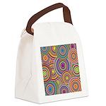 Rainbow Retro Circles Pattern Canvas Lunch Bag