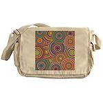 Rainbow Retro Circles Pattern Messenger Bag