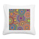 Rainbow Retro Circles Pattern Square Canvas Pillow