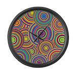 Rainbow Retro Circles Pattern Large Wall Clock